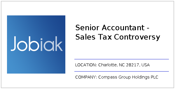 Charlotte Nc Sales Tax >> Senior Accountant Sales Tax Controversy Job At Compass Group