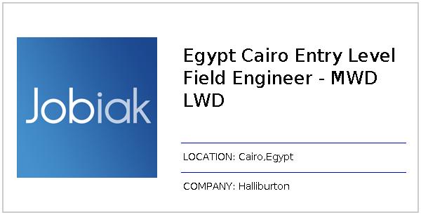 Egypt Cairo Entry Level Field Engineer - MWD LWD job at Halliburton