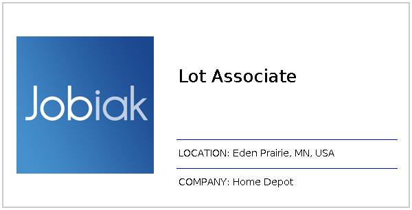 Lot Associate Job At Home Depot In Eden Prairie Mn Jobiak