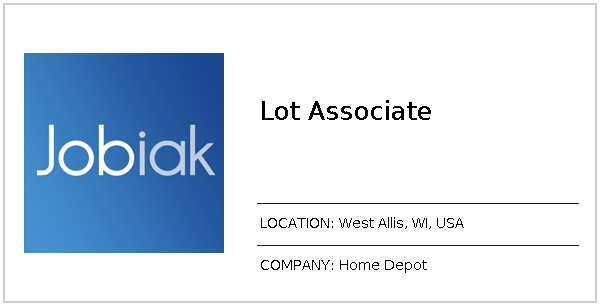 Lot Associate Job At Home Depot In West Allis Wi Jobiak