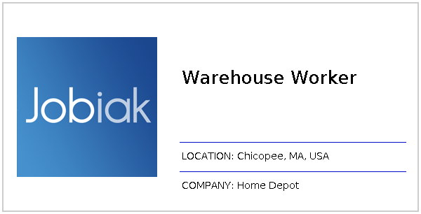 Warehouse Worker Job At Home Depot In Chicopee Ma Jobiak