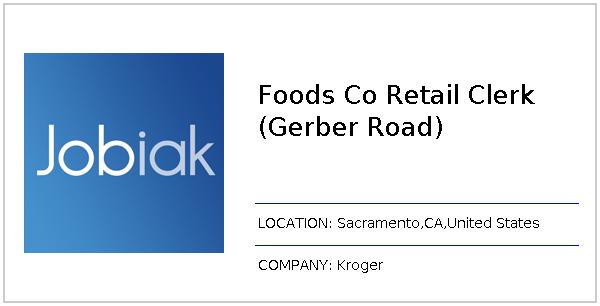 Foods Co Retail Clerk (Gerber Road) job at Kroger in