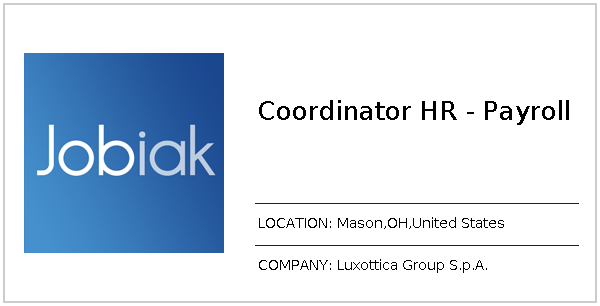 Coordinator HR - Payroll job at Luxottica Group S p A  in