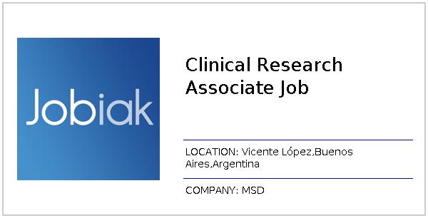 Clinical Research Associate Job job at MSD in Vicente López,Buenos
