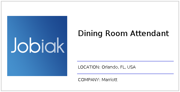 Dining Room Attendant Job At Marriott In Orlando FL