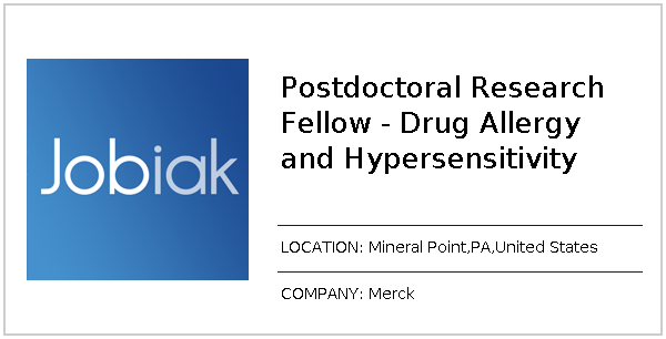 Postdoctoral Research Fellow - Drug Allergy and