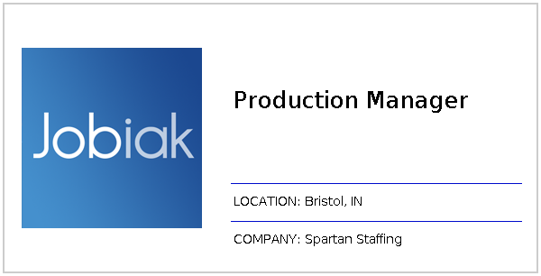 Production Manager Apply On Spartan Staffing