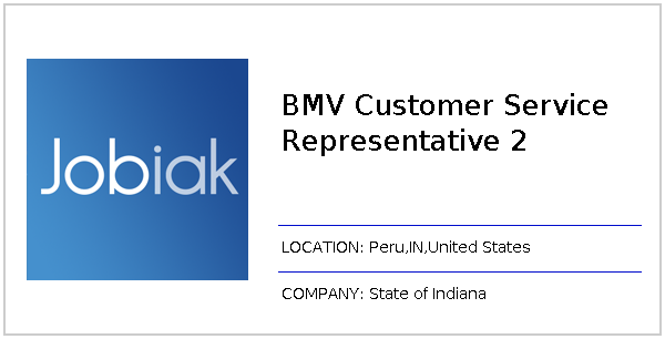 Bmv Boonville In >> Bmv Customer Service Representative 2 Job At State Of