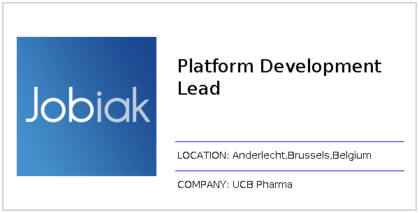 Platform Development Lead job at UCB Pharma in Anderlecht