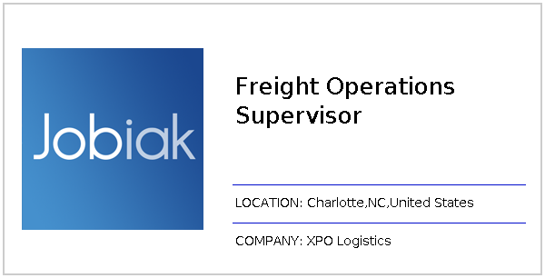 Freight Operations Supervisor job at XPO Logistics in Charlotte,NC