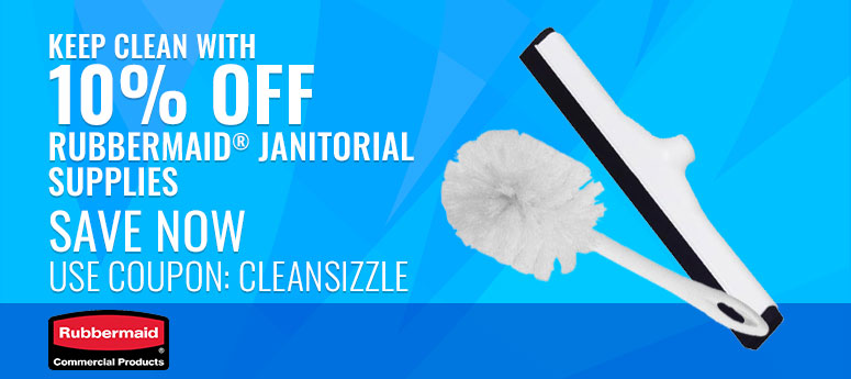 Keep clean with 10% off Rubbermaid Janitorial Supplies. Use Code: CLEANSIZZLE
