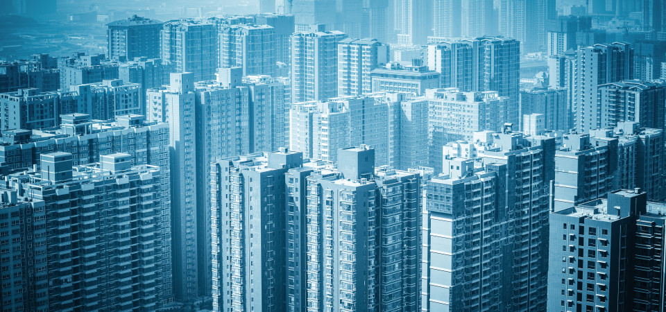 urban forest new real estate buildings haze and excessive development