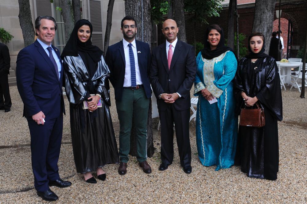 Ambassador Stuart Holliday Maitha Al Mehairbi Khalid Mezaina Ambassador Yousef Al Otaiba Noor Al Suwaidi and Zeinab Al Hashemi