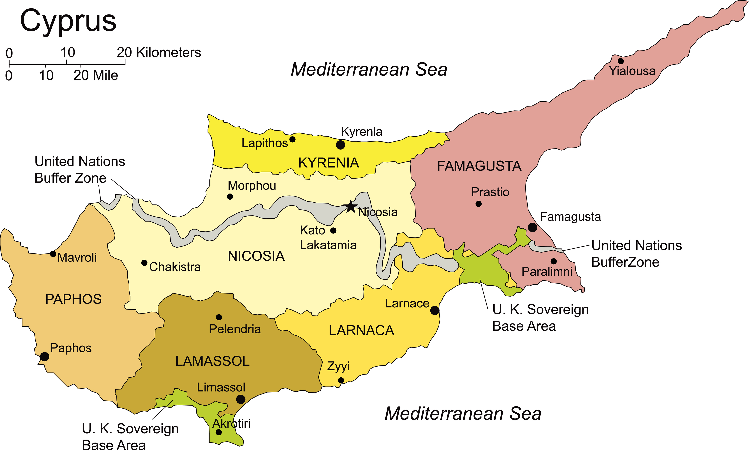 Cyprus Administrative Districts Capitals Diplomatic Courier
