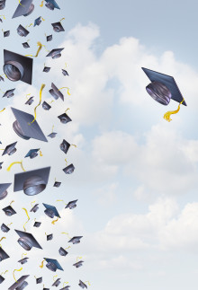 Individual education concept or individualized learning plan symbol as a group of mortar hats or graduation caps flying in the air and a single graduate hat flying alonev in the opposite direction