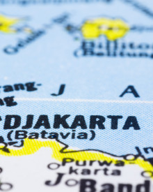 a close up shot of Jakarta on map capital of Indonesia. ** Note: Shallow depth of field