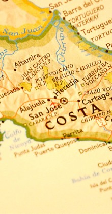 This is a map of the small country of Costa Rica. A great place to vacation. Great for education schools travels advertising and entertainment. *Focus is on the Center of the country.*
