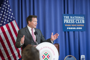 The Magyar Foundation in partnership with Pepperdine University host presentations of political science papers on US/Hungary relations at the National Press Club in Washington, DC. February 25, 2016. Former U.S. Congressmen and House Foreign Affairs Committee Member Connie Mack is pictured here.