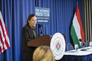 Jo Ann Barnhart, executive director of MFNA, speaks on US/Hungary relations at the National Press Club in Washington, DC. February 25, 2016.
