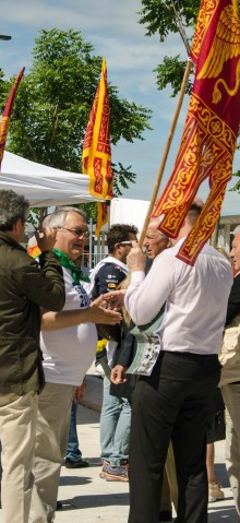 VENICE, ITALY - MAY 24, 2015:  Supporters of Lega Nord party, the Northern League, canvassing local voters in Lido, Venice ahead of local, regional and Mayoral elections.