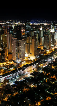 MAKATI, PHILIPPINES - MAY 23: A view of Makati City at night in Metro Manila, Philippines as seen on May 23, 2015.