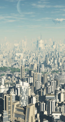 View across a futuristic sci-fi city, 3d digitally rendered illustration