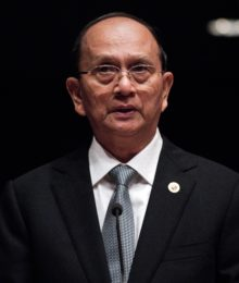 "(FILES) In a file picture taken on April 29, 2013, Myanmar President Thein Sein delivers a speech at the United Nations during the Economic and Social Commision for Asia and the Pacific (ESCAP) 69th Session of the Commission in Bangkok.  President Thein Sein's historic invitation to the White House is an endorsement of ""Myanmar's Spring"" and a further sign that the former pariah's reforms are irreversible, a senior Myanmar official said.  AFP PHOTO/ FILES / Nicolas ASFOURI"