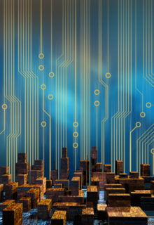 Skyline of a city made of circuit board structure skyscrapers, with a cirucit board graphics background