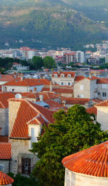 BUDVA MONTENEGRO - SEPTEMBER 17 2015: Top view of Old Town Budva Montenegro