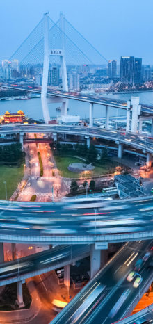 shanghai nanpu bridge at dusk busy city traffic closeup