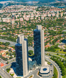 ISTANBUL TURKEY - JUNE 20: Zincirlikuyu District in istanbul. Skyscrapersmall and residences in Zincirlikuyu on June 20 2015 in Istanbul Turkey