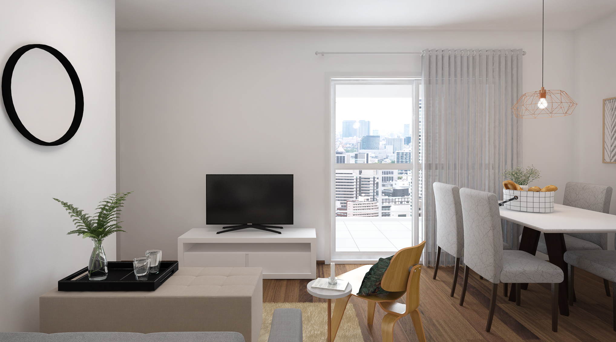 Sala Integrada estilo Moderno sofisticado Cool