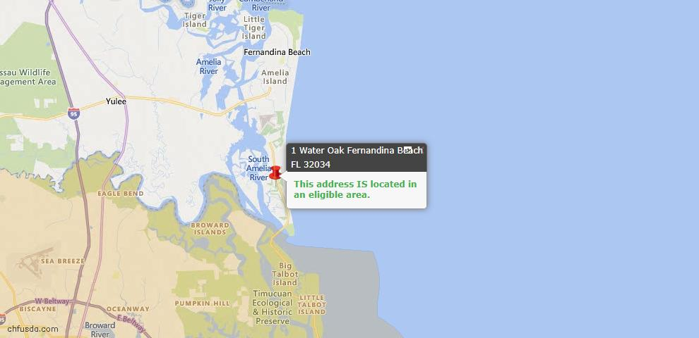 USDA Loan Eligiblity Map - 1 Water Oak, Fernandina Beach, FL 32034