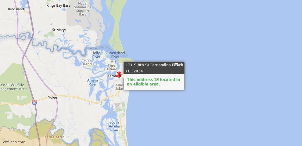 USDA Loan Eligiblity Map - 121 South 8th St, Fernandina Beach, FL 32034