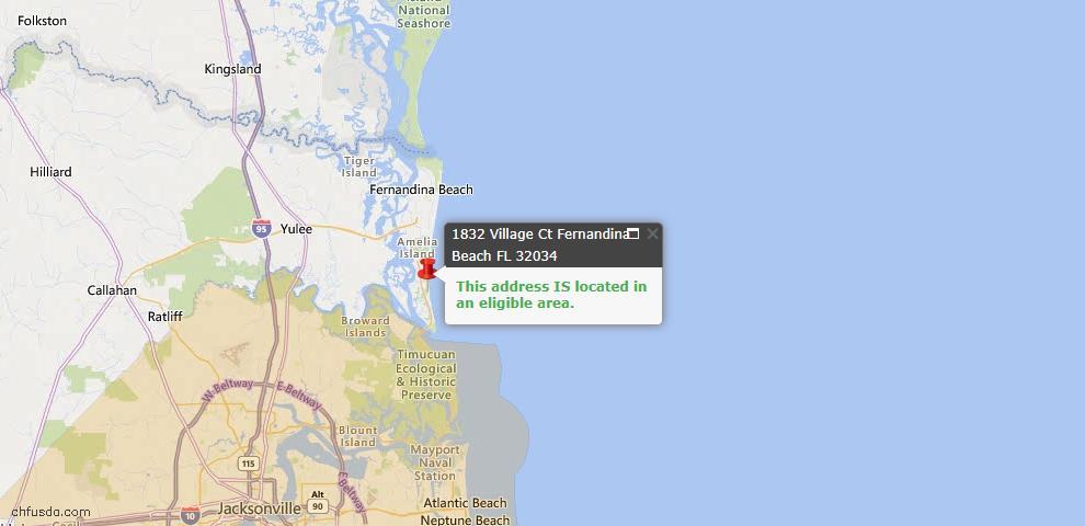USDA Loan Eligiblity Map - 1832 Village Ct, Fernandina Beach, FL 32034