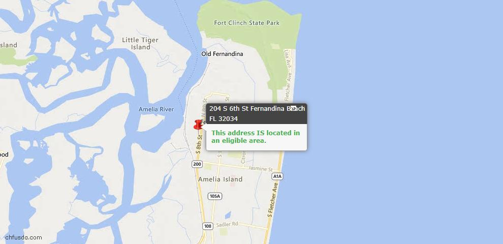 USDA Loan Eligiblity Map - 204 South 6th St, Fernandina Beach, FL 32034
