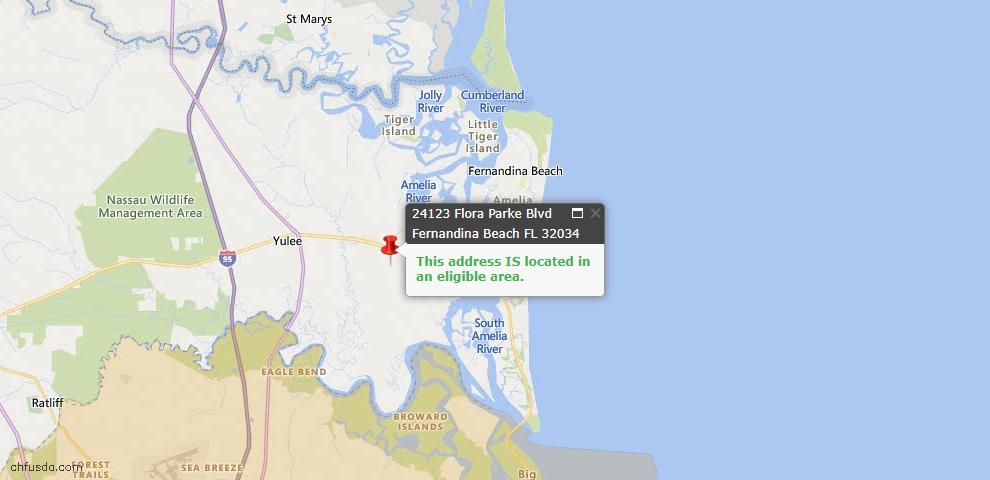 USDA Loan Eligiblity Map - 24123 Flora Parke Blvd #0059, Fernandina Beach, FL 32034