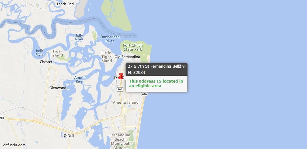 USDA Loan Eligiblity Map - 27 South 7th St, Fernandina Beach, FL 32034