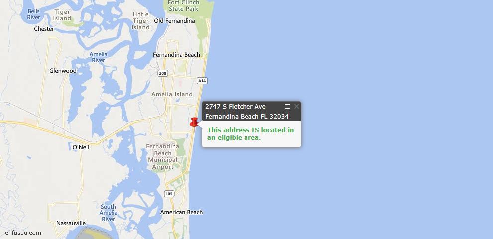 USDA Loan Eligiblity Map - 2747 South Fletcher Ave, Fernandina Beach, FL 32034