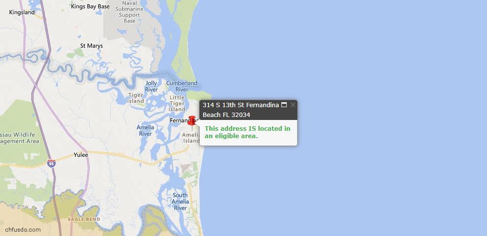 USDA Loan Eligiblity Map - 314 South 13th St, Fernandina Beach, FL 32034