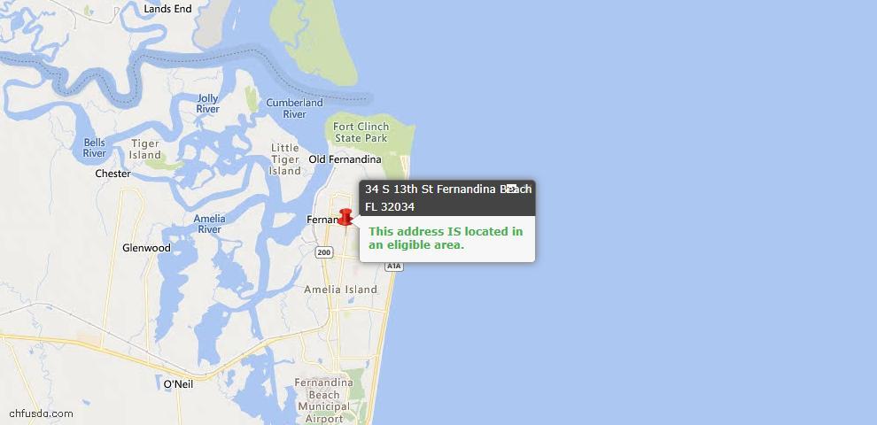 USDA Loan Eligiblity Map - 34 South 13th St, Fernandina Beach, FL 32034