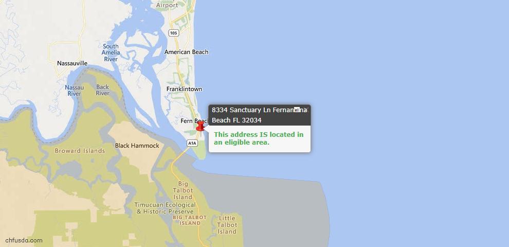 USDA Loan Eligiblity Maps From - Amelia Island, FL