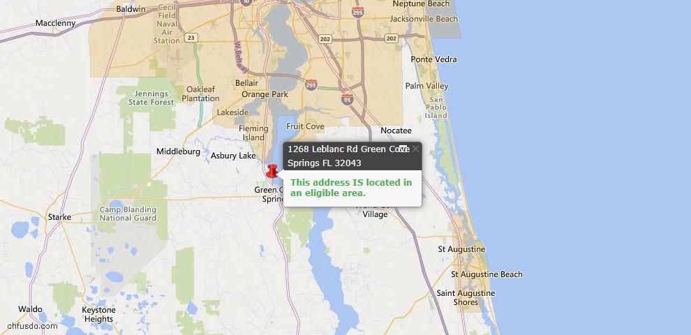 USDA Loan Eligiblity Map - 1268 Leblanc Rd, Green Cove Spr, FL 32043
