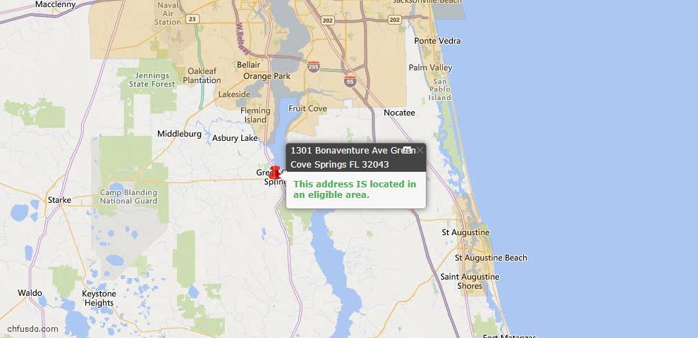 USDA Loan Eligiblity Map - 1301 Bonaventure Ave, Green Cove Spr, FL 32043