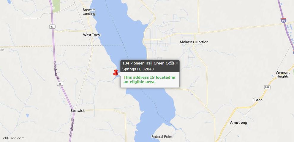 USDA Loan Eligiblity Map - 134 Pioneer Trl, Green Cove Springs, FL 32043