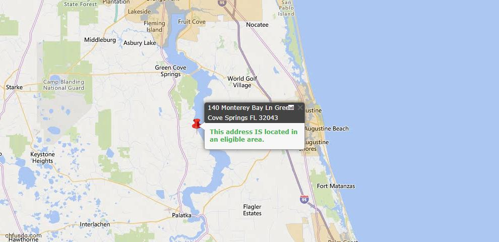USDA Loan Eligiblity Map - 140 Monterey Bay Ln, Green Cove Spr, FL 32043
