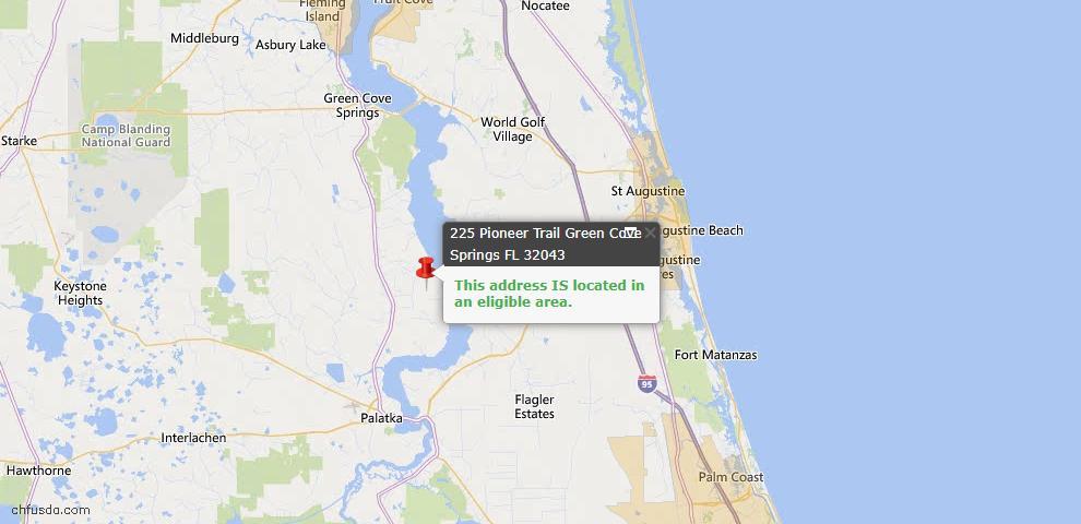 USDA Loan Eligiblity Map - 225 Pioneer Trl, Green Cove Spr, FL 32043