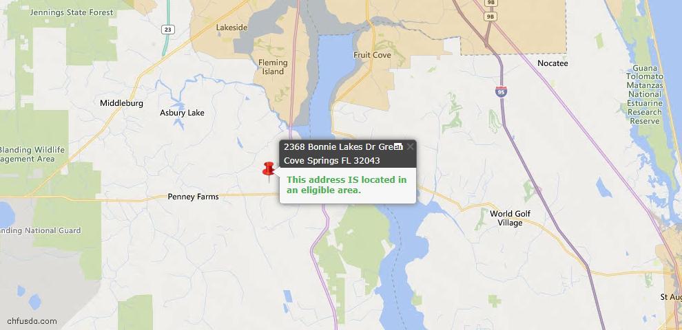 USDA Loan Eligiblity Map - 2368 Bonnie Lakes Dr, Green Cove Spr, FL 32043