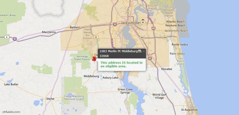 USDA Loan Eligiblity Map - 1083 Merlin Pt, Middleburg, FL 32068