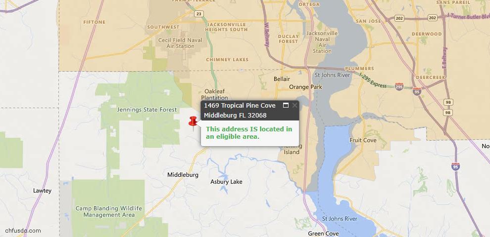 USDA Loan Eligiblity Map - 1469 Tropical Pine Cv, Middleburg, FL 32068